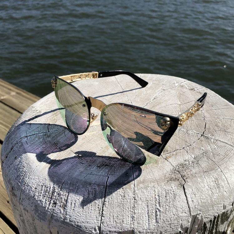Skull Solglasögon, rosa/guld