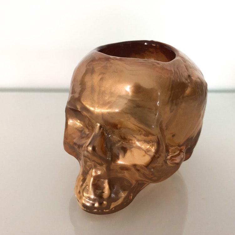 Still Life Skull Koppar Metallic, ljuslykta