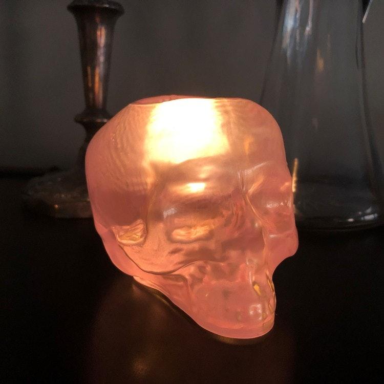 Still Life Skull Ljus Rosa, ljuslykta
