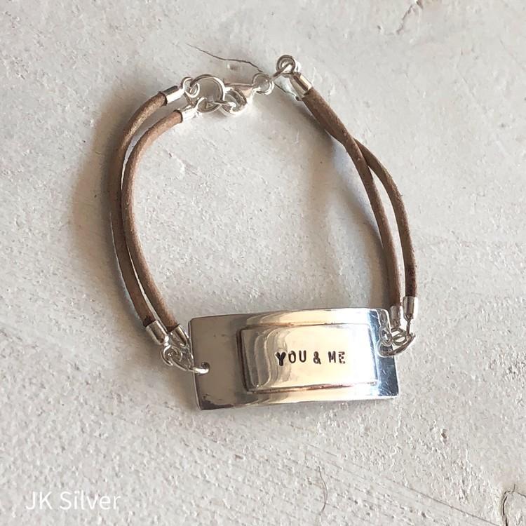 "Armband Silver & läder, ""You & Me"""