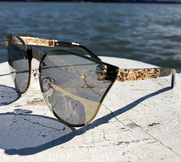 Skull Solglasögon, guld/brun