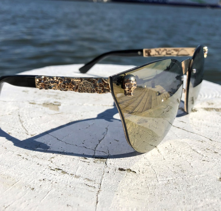 Skull Solglasögon, brun/guld