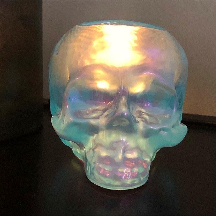 Still Life Skull Ljus Blå, ljuslykta