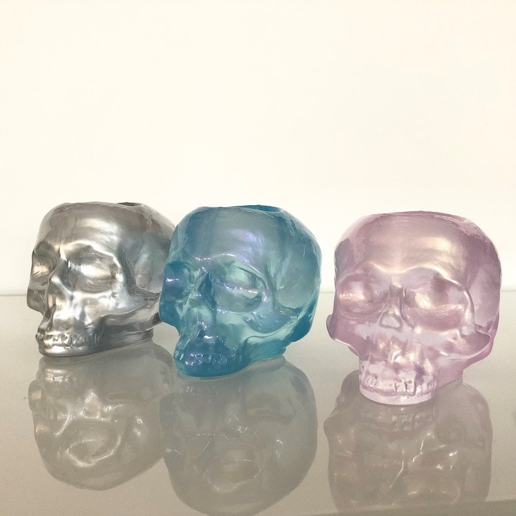 Still Life Skull Silver Metallic, ljuslykta