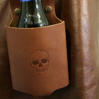Flaskhållare i buffelskinn, congac