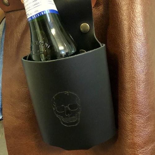 Flaskhållare i buffelskinn, svart