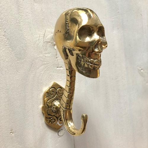 Väggkrok guldfärgad 13cm - skull