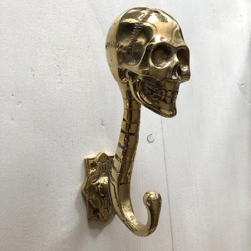 Väggkrok guldfärgad 17cm - skull
