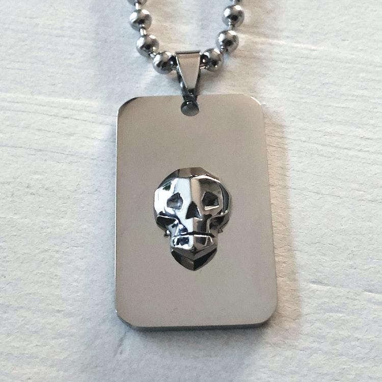 Dog Tag skull white - Rock by Sweden