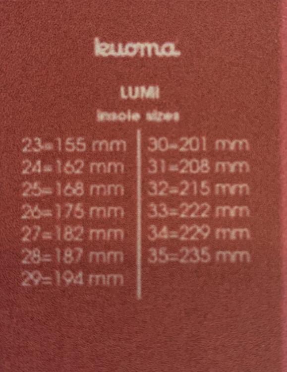 Kuoma LumiLoru Villa storlek 23-38