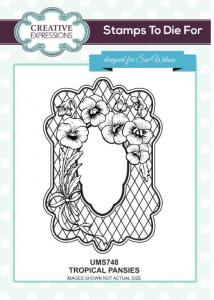 Creative Expressions, Tropical Pansies Pre Cut Stamp