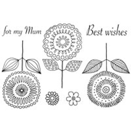 Woodware clearstamp, Loopy Flowers
