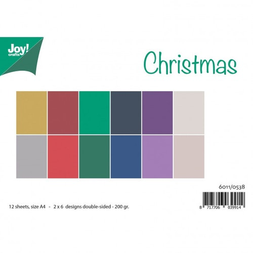 Joy!Crafts, Enfärgat A4 Papper 12st - Christmas