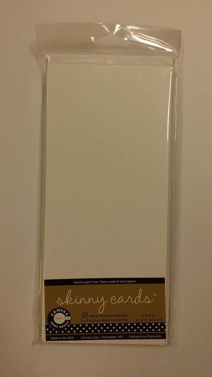 Kort och kuvert 8st, Skinny cards, höga 10,2x22,9 cm