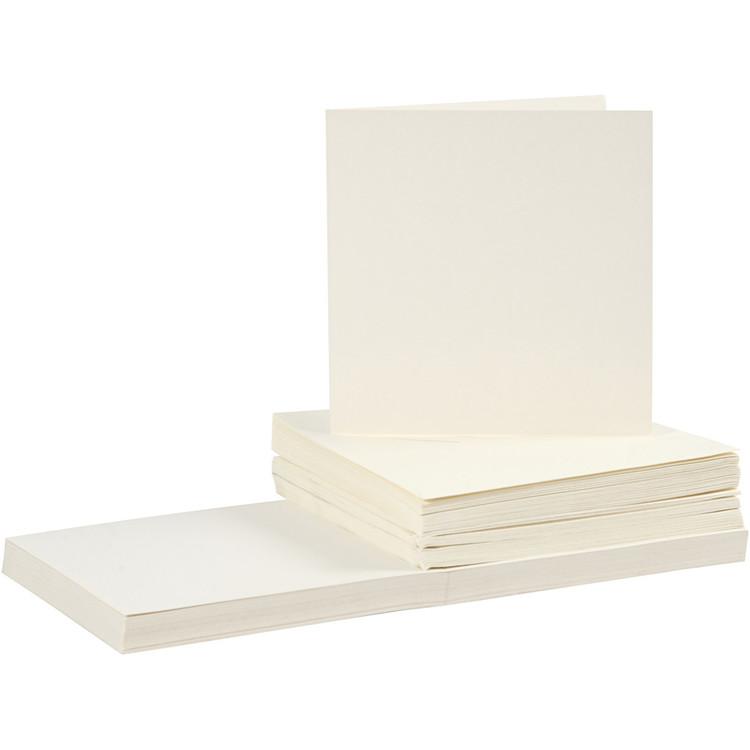Kort och kuvert, kortstl. 15x15 cm, kuvertstl. 16x16 cm, råvit, 50set