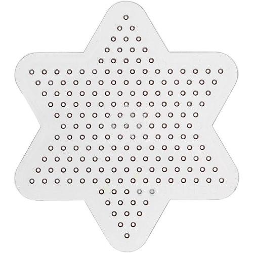 Pärlplatta, dia. 10 cm, transparent, liten stjärna