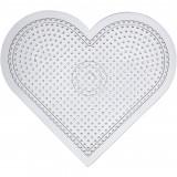 Pärlplatta, H: 15 cm, transparent, stort hjärta