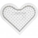 Pärlplatta, H: 8 cm, transparent, litet hjärta
