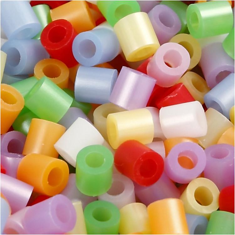 Rörpärlor, stl. medium mm, stl. 5x5 mm, pärlemorsfärger, 1100mix