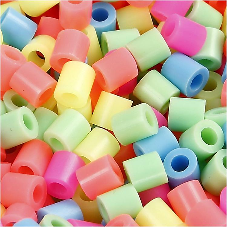 Rörpärlor, stl. medium, stl. 5x5 mm, pastellfärger, 1100mix