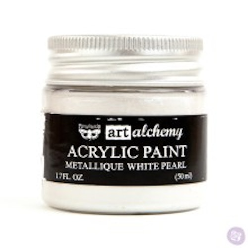Prima Finnabair Art Alchemy Acrylic Paint 50ml - Metallique White Pearl