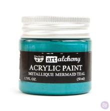 Prima Finnabair Art Alchemy Acrylic Paint 50ml - Metallique Mermaid Teal