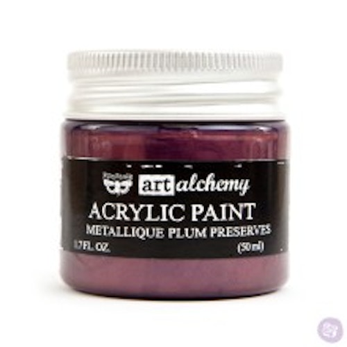 Prima Finnabair Art Alchemy Acrylic Paint 50ml - Metallique Plum Preserves