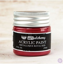 Prima Finnabair Art Alchemy Acrylic Paint 50ml - Metallique Royal Red