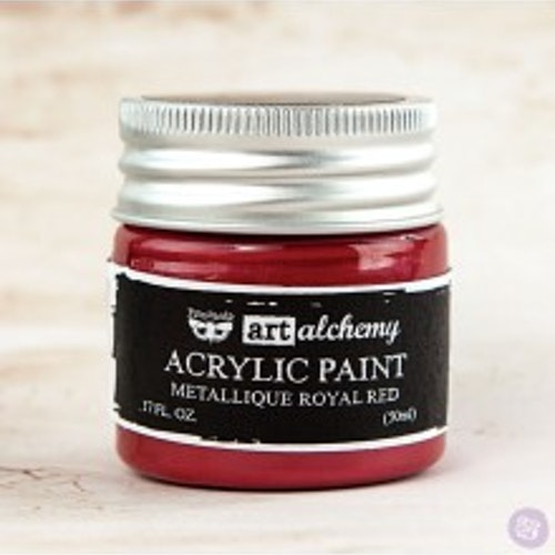 Prima Finnabair Art Alchemy Acrylic Paint 50ml - Metallique Royal Red