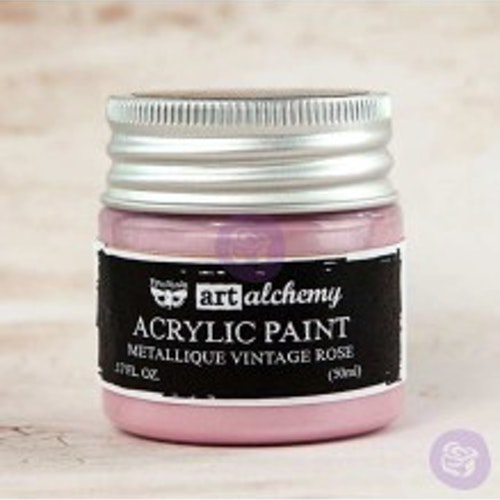 Prima Finnabair Art Alchemy Acrylic Paint 50ml - Metallique Vintage Rose