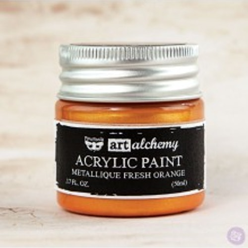 Prima Finnabair Art Alchemy Acrylic Paint 50ml - Metallique Fresh Orange
