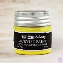 Prima Finnabair Art Alchemy Acrylic Paint 50ml - Metallique Pure Sunshine