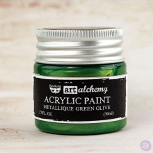 Prima Finnabair Art Alchemy Acrylic Paint 50ml - Metallique Green Olive