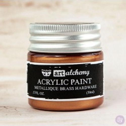 Prima Finnabair Art Alchemy Acrylic Paint 50ml - Metallique Brass Hardware