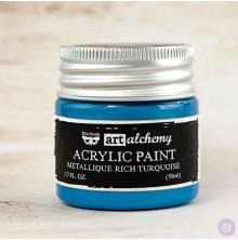 Prima Finnabair Art Alchemy Acrylic Paint 50ml - Metallique Rich Turquoise