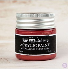 Prima Finnabair Art Alchemy Acrylic Paint 50ml - Metallique Rusty Red