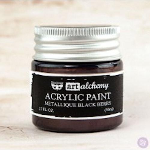 Prima Finnabair Art Alchemy Acrylic Paint 50ml - Metallique Black Berry