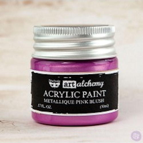 Prima Finnabair Art Alchemy Acrylic Paint 50ml - Metallique Pink Blush