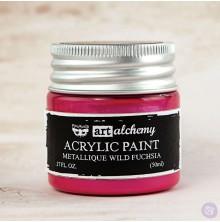 Prima Finnabair Art Alchemy Acrylic Paint 50ml - Metallique Wild Fuchsia