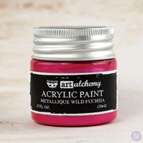 Prima Finnabair Art Alchemy Acrylic Paint 50ml - Metallique Wild Fuchsia
