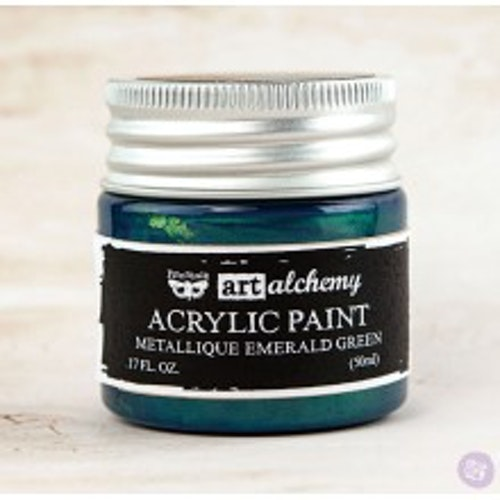 Prima Finnabair Art Alchemy Acrylic Paint 50ml - Metallique Emerald Green