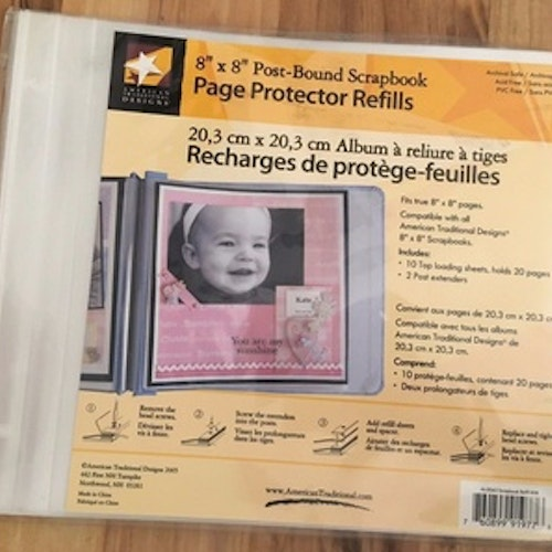 "Page protector refills, 8""x8"" 10st plastfickor"
