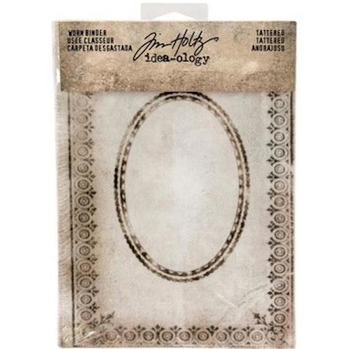Tim Holtz Idea-0logy Worn 2-Ring Binder - Tattered Printed Fabric CoverTattered Printed Fabric Cover