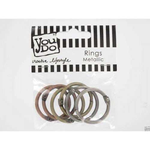 YouDo, Rings Metallic Antique mix 1/4 tum 25mm 6pcs