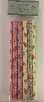 Dixi Craft Paper Straws 20 stk, blommiga mixade färger
