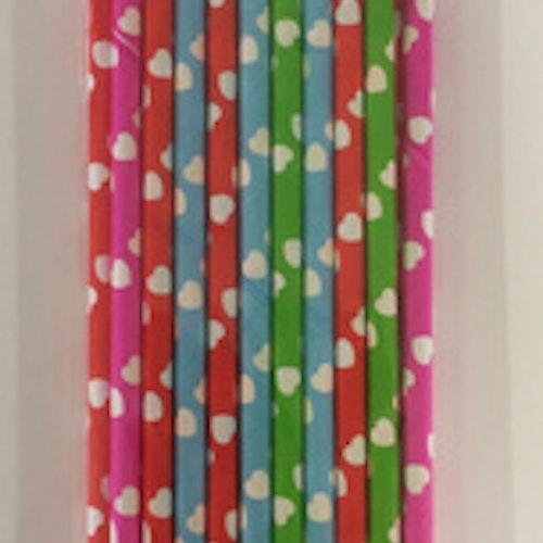 Dixi Craft Paper Straws 20 stk, hjärtan mixade färger