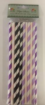 Dixi Craft Paper Straws 20 stk, Lila/svart randig