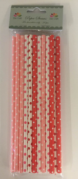 Dixi Craft Paper Straws 20 stk, Röd prickig