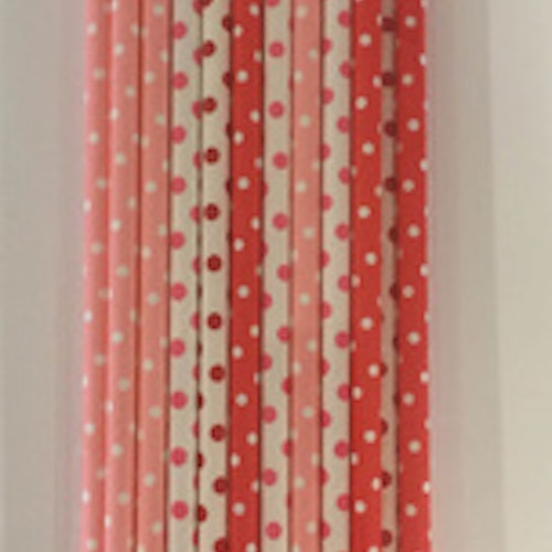 Dixi Craft Paper Straws 20 stk, Röd prickig