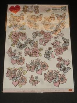 3D klippark, YC10246, fjäril och blommor